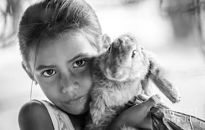Black And White Photograph - Girl And Her Lucky Bunny by Ning Mosberger-Tang