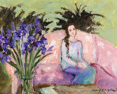 Painting - Girl And Iris by J Reifsnyder