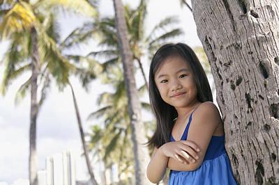 Girl And Palm Trees Art Print