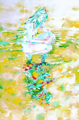Girl And Reflection Art Print