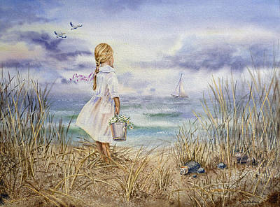 Pelican Wall Art - Painting - Girl At The Ocean by Irina Sztukowski