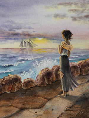 Painting - Girl And The Ocean Sailing Ship by Irina Sztukowski