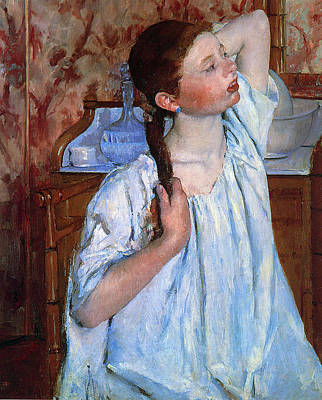 Youngster Digital Art - Girl Arranging Her Hair by Marry Cassatt
