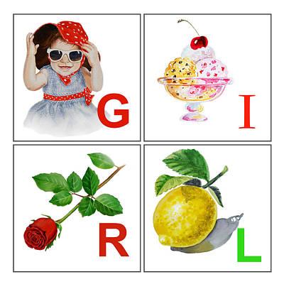 Girl Art Alphabet For Kids Room Art Print