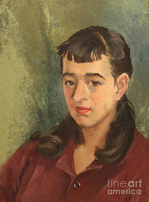 1950s Portraits Painting - Girl At 14 1950s by Art By Tolpo Collection