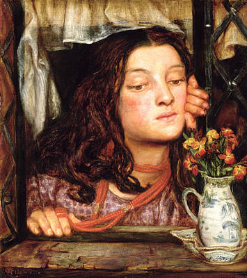 Coral Necklace Painting - Girl At A Lattice, 1862 by Dante Gabriel Charles Rossetti