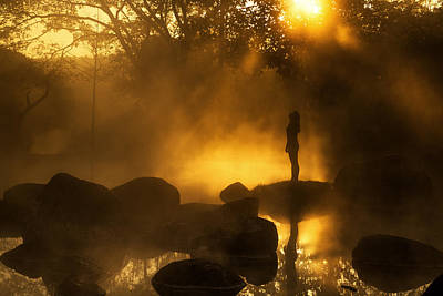 Girl At Hotspring Art Print by Arthit Somsakul