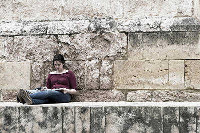 Photograph - Girl At The Ancient Wall by Lorraine Devon Wilke