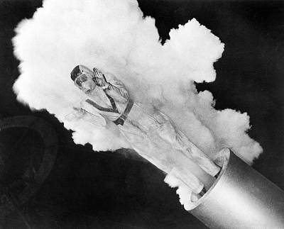 Photograph - Girl Becomes Human Cannonball by Underwood Archives