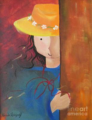Art Print featuring the painting Girl Behind The Door by Nereida Rodriguez