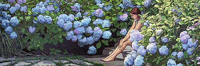 Painting - Girl With The Blue Hydrangeas by Christine Montague