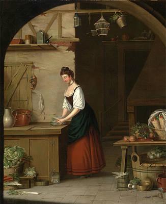 Asparagus Painting - Girl Bundling Asparagus A Girl Bundling Asparagus For Market by Litz Collection