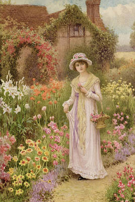 Girl By A Herbaceous Border Art Print by William Affleck
