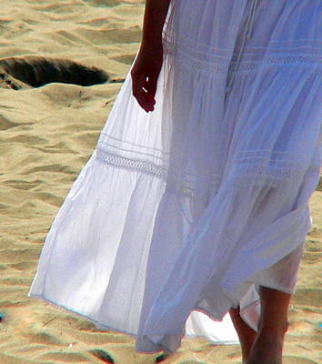Photograph - Girl Cotton Skirt At Beach by Jeff Lowe