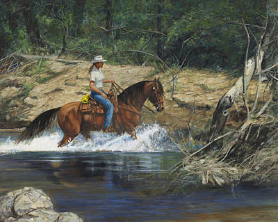 Horseback Painting - Girl Crossing Big Creek by Don  Langeneckert
