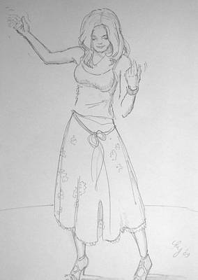 Drawing - Girl Dancing by Mike Jory