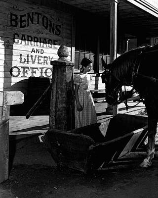 Old General Store Photograph - Girl Discusses Serious Issue With Horse by Retro Images Archive
