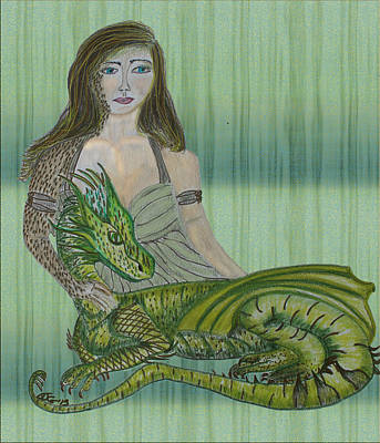 Drawing - Girl Dragon by Barbara Giordano