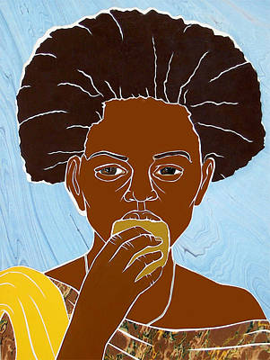 Mixed Media - Girl Eating Mango by Martha Rucker