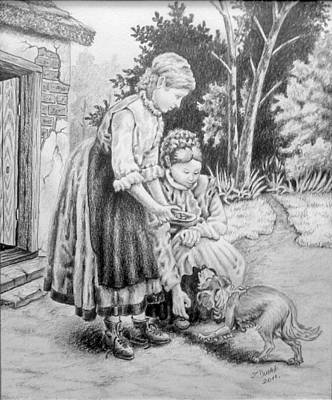 Drawing - Girl Feeding A Dog. by Zdzislaw Dudek