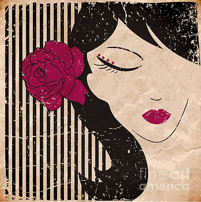 Glamour Digital Art - Girl Head With Flower. Vector by Little one