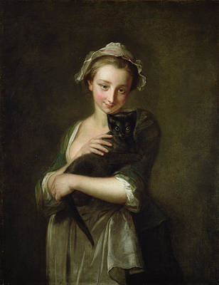Girl Holding A Cat Art Print by Philippe Mercier