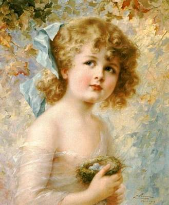 Young Digital Art - Girl Holding A Nest by Emile Vernon