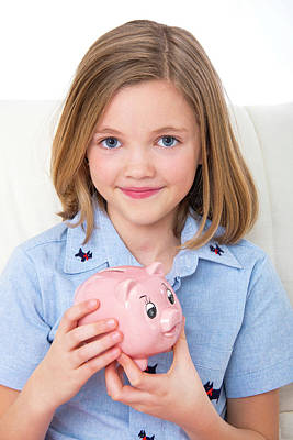 Piggy Bank Photograph - Girl Holding A Piggy Bank by Lea Paterson