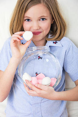 Candy Jar Photograph - Girl Holding Marshmallows by Lea Paterson