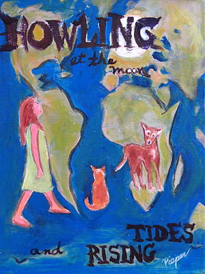 Girl Howling At The Moon And Rising Tides Original by Betty Pieper