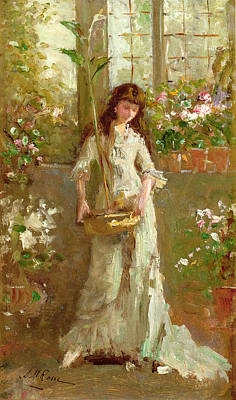 Conservatory Painting - Girl In A Conservatory by Alexander M Rossi