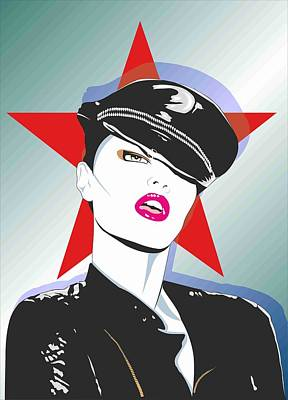 Girl In A Leather Cap Art Print by Peter Bratt