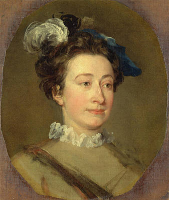 Hogarth Painting - Girl In A Plumed Hat, Attributed To William Hogarth by Litz Collection