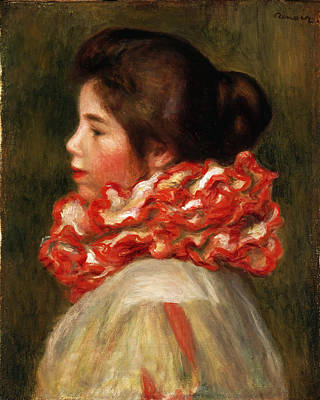 Ruff Painting - Girl In A Red Ruff by Pierre-Auguste Renoir