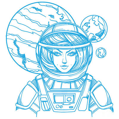 Beauty Wall Art - Digital Art - Girl In A Spacesuit For T-shirt Design by Filkusto