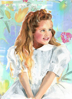Girl In A White Lace Dress  Art Print