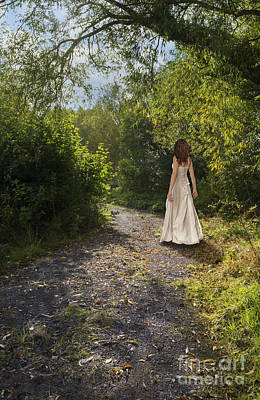 Girl In Country Lane Art Print