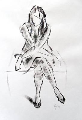 Girl In Dress Sitting Original