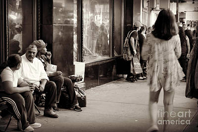 Photograph - Girl In Flouncy Dress - Times Square by Miriam Danar
