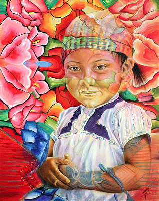 Indigenous Painting - Girl In Flowers by Karina Llergo