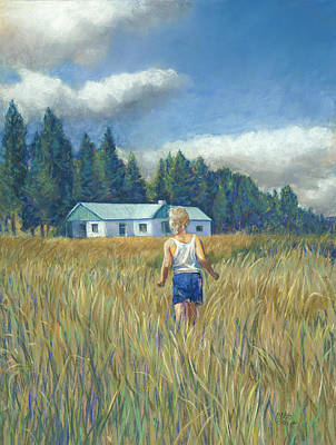 Girl In Hayfield Art Print