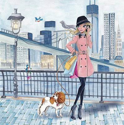 Brooklyn Bridge Mixed Media - Girl In New York by Caroline Bonne-Muller