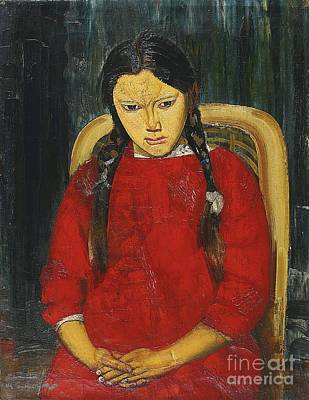 Orthodox Painting - Girl In Red by Celestial Images