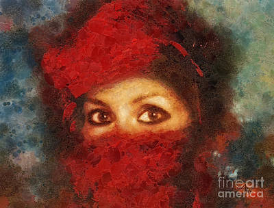 Woman In Red Painting - Girl In Red Turban by Mo T