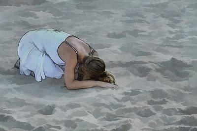 Youth Digital Art - Girl In Sand Beach by Randy Steele