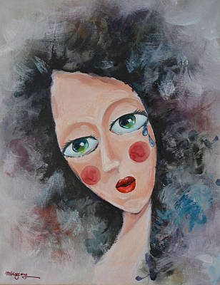 Girl In Tear Art Print by Mikyong Rodgers