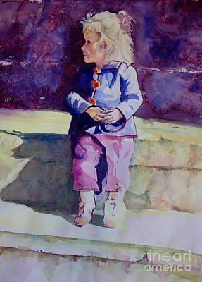 Girl In The Blue Jacket Art Print by Janet Felts