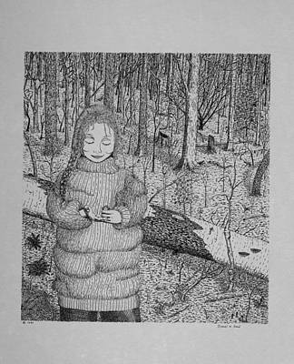 Art Print featuring the drawing Girl In The Forest by Daniel Reed