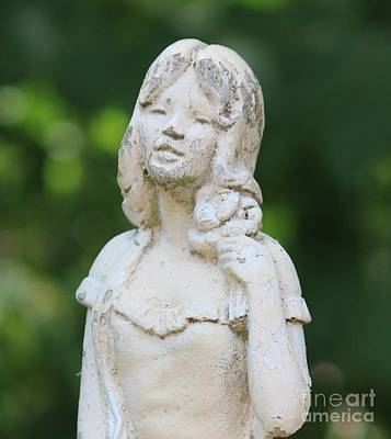 Girl In The Garden Statue Art Print