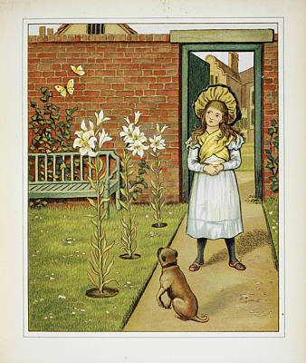 Girl In The Garden With Dog Print by British Library